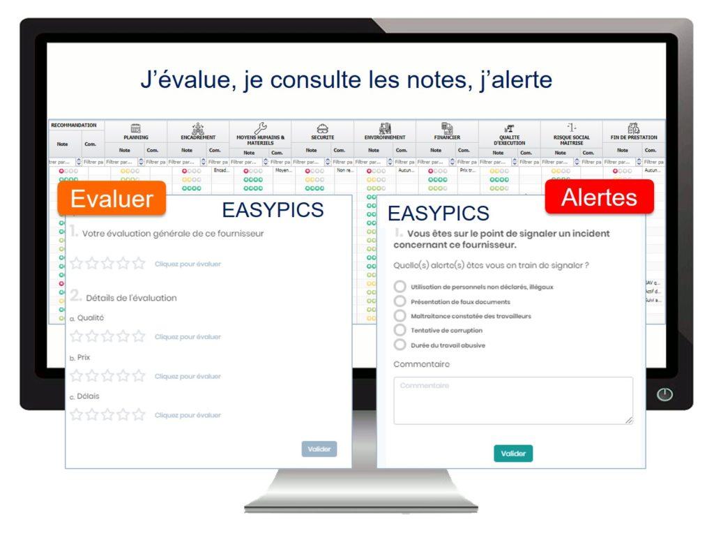 Tableaux de bord des évaluations et alertes terrain sur vos fournisseurs
